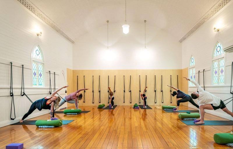 Doing yoga at Gwinganna
