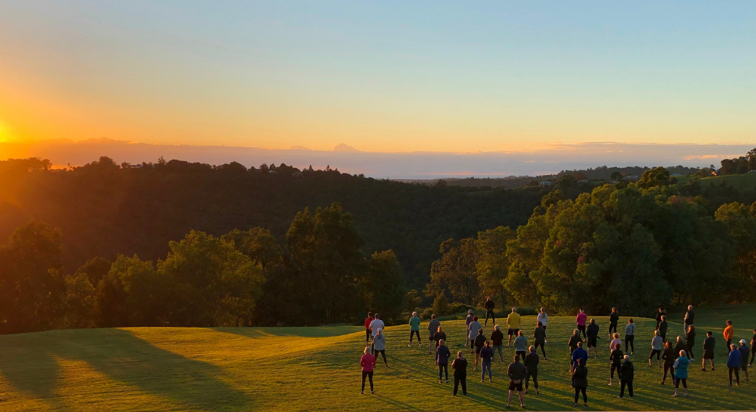 Group Qi Gong Session as the sunrises.