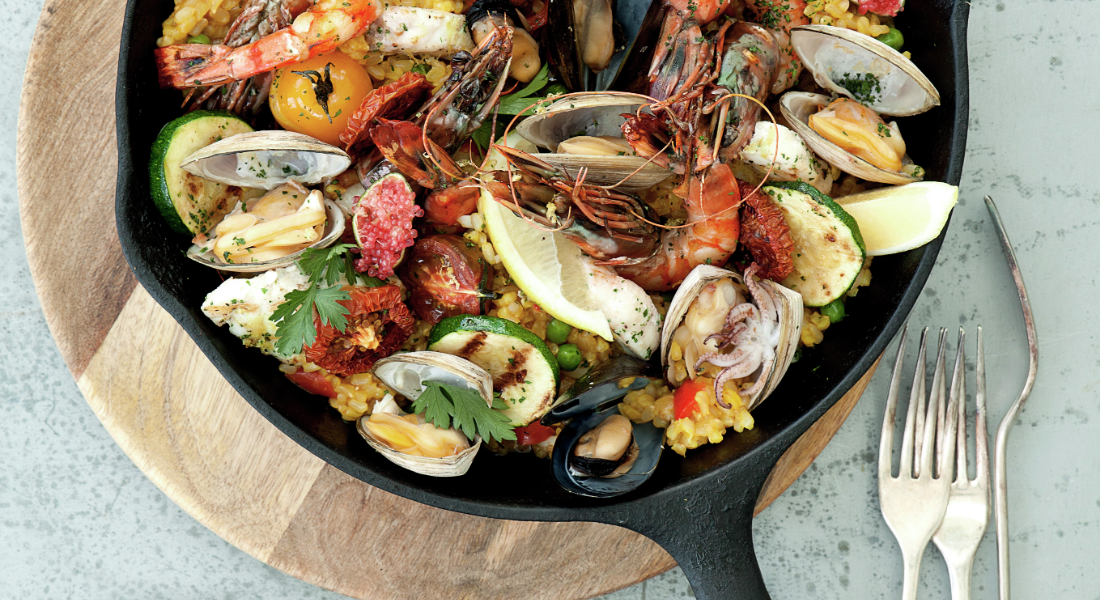 Seafood paella as prepared by the chefs at Gwinganna